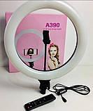 Кольцевая LED лампа AL-390 с пультом + Штатив тренога (39см 220V 1 крепл.тел.), фото 6