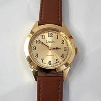 Годинник золотисті механічні чоловічі стильні з арабськими цифрами на ремені Луч Luch 126 Білорусь