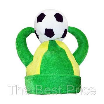 Шапка Футбол с рогами и мячом велюр