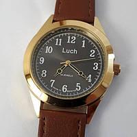 Чоловічий механічний годинник з арабськими цифрами на ремені золотисті з чорним циферблатом Промінь 126