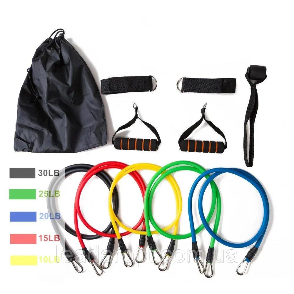 ОПТ Набор для атлетических упражнений трубчатых эспандеров для фитнеса Power Bands 5 жгутов