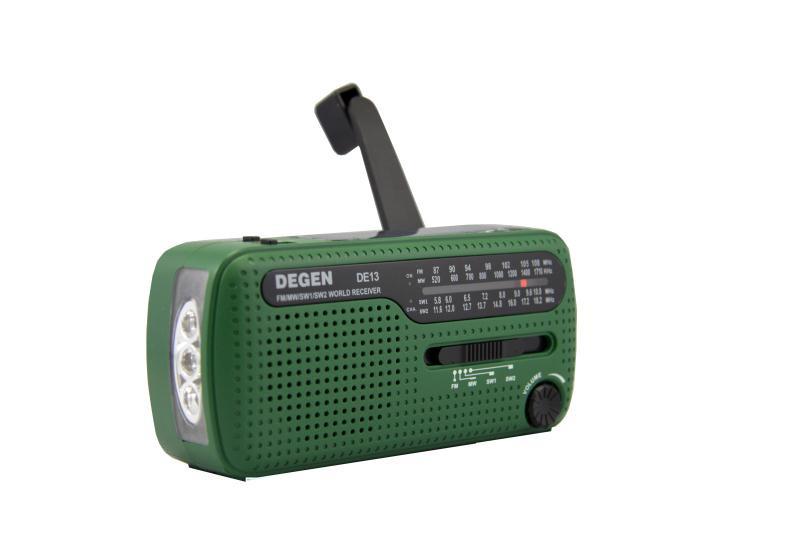 Радиоприемник Degen DE13 (солнечная батарея, динамомашина, аккумулятор)