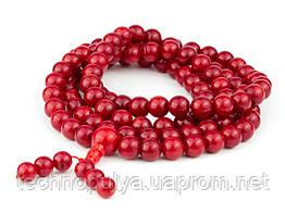 Чотки 108 намистин Корал 45х0,85х0,85 см Темно-червоний (14893)