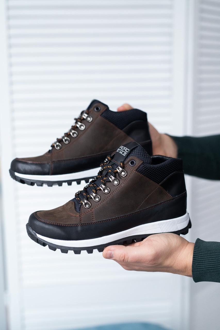 Підліткові кросівки шкіряні весна/осінь коричневі-чорні Road-style Бс024-12 байка