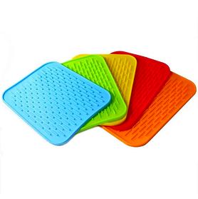 Силіконовий килимок універсальний для сушки посуду, підставка під гаряче, прихватка 22х16 см, Рожевий