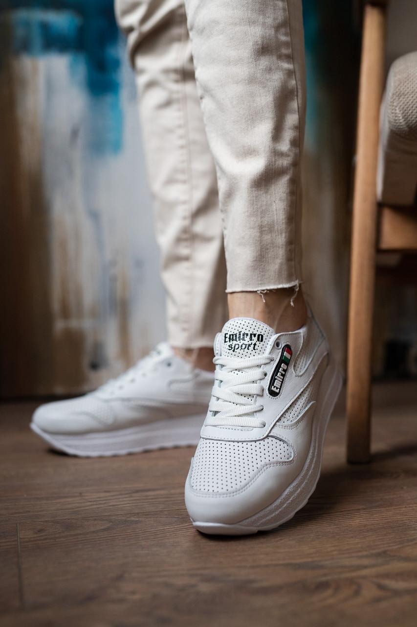 Женские кроссовки кожаные летние белые Emirro R17 Перф