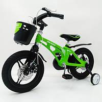 Двухкколесный велосипед Mars-14, магнезиевая рама, 14 дюймов колеса, с корзиной, зеленый