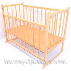 Ліжечко-гойдалка дерев'яна опускається з бортиком №3 Вільха (05759)
