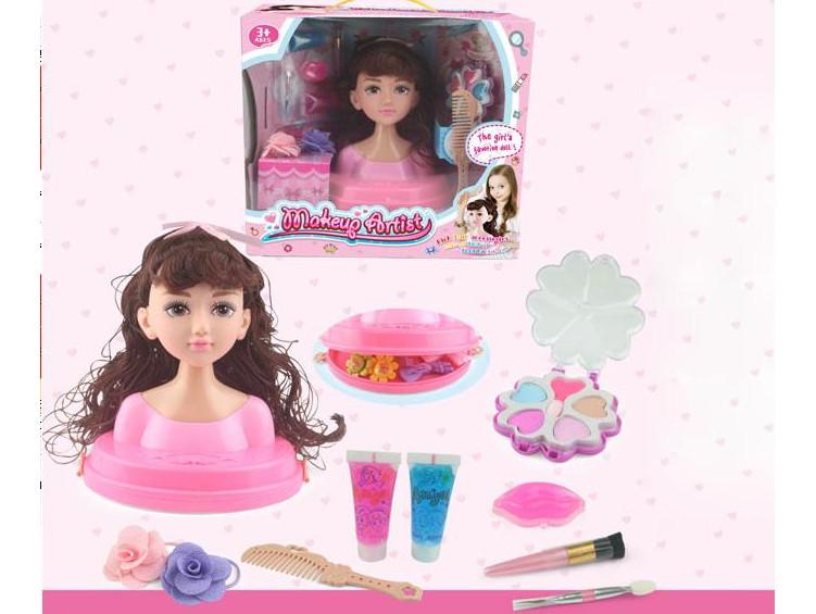 Голова-манекен куклы для причесок и макияжа с аксессуарами v1