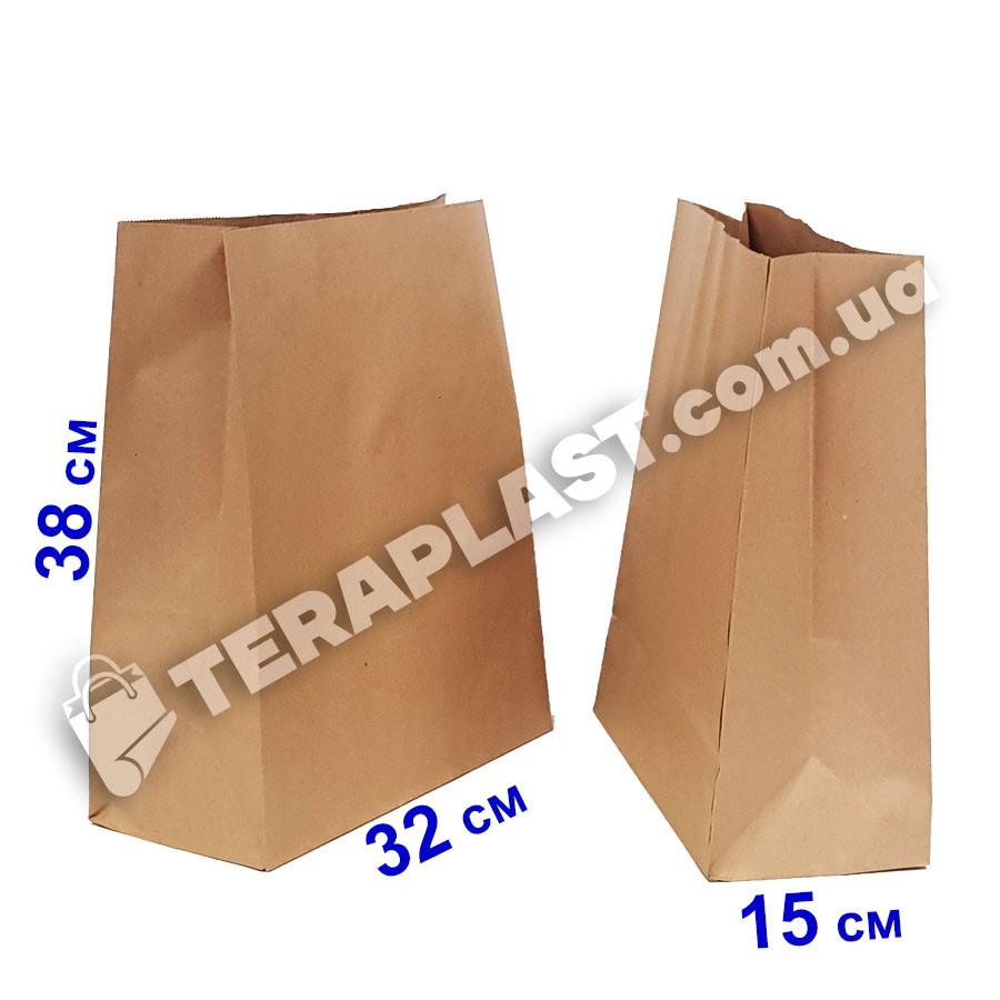 Бумажный пакет 320х150х380 бурый без ручек, плотность 100г/м2