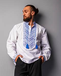 Мужская сорочка Назар с синим орнаментом