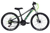 """Велосипед 24"""" Discovery QUBE AM DD 2021 (черно-зеленый) (бесплатная доставка)"""