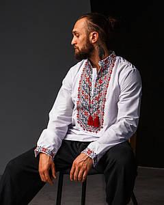 Мужская сорочка Назар с красным орнаментом