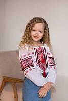 Рубашка вышиванка для девочки с орнаментом 128 рост, фото 1