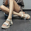 летние женские туфли сандалии на платформе на толстой подошве с липучкой в римском стиле