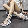 Женская обувь кожаная платформа сандалии с пряжкой на среднем каблуке римская обувь