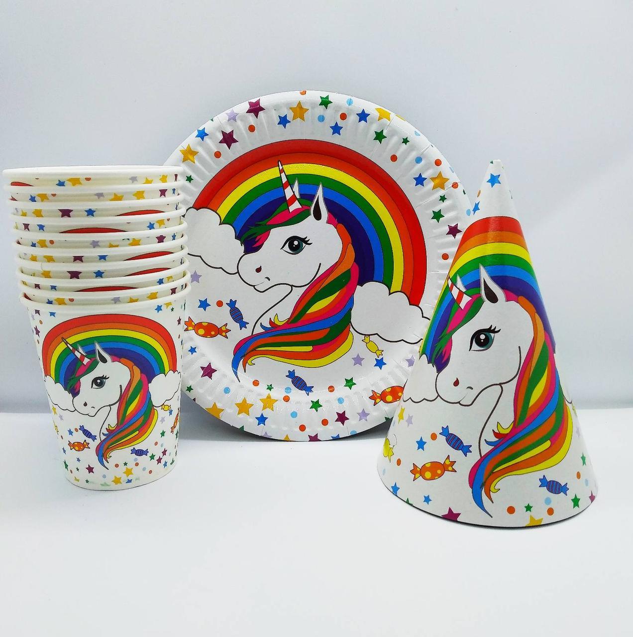 Набор детской праздничной одноразовой посуды Единорог радужный. 10 тарелок , 10 стаканчиков , 10 колпачков
