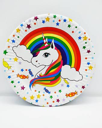 Тарелки детские одноразовые Единорог радуга 10 штук