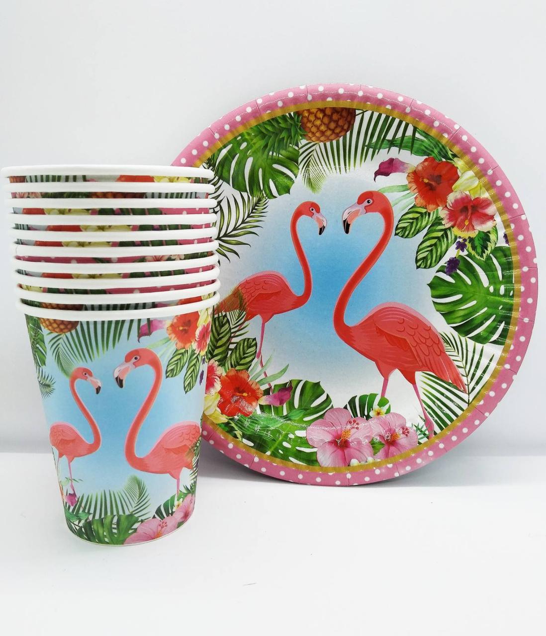 Набор одноразовой посуды для праздника Фламинго 10 стаканов, 10 тарелок