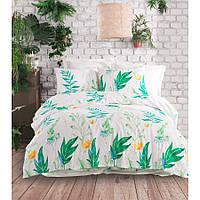 Качественное семейное постельное белье из плотного материала ранфорс (100 хлопок), турецкое, белый с зеленым