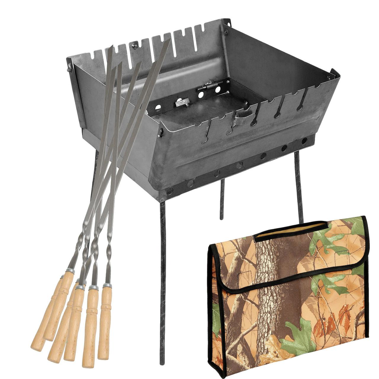 Мангал - чемодан 2 мм на 6 шампуров 370х350х160мм + Чехол + Набор шампуров