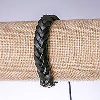 Браслет черная косичка эко кожа на затяжке купить оптом в интернет магазине