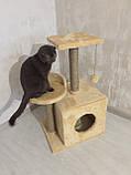 Домик-когтеточка с полкой Буся 36х46х80см (дряпка) для кошки Бежевый, фото 2