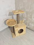 Домик-когтеточка с полкой Буся 36х46х80см (дряпка) для кошки Бежевый, фото 4