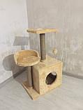 Домик-когтеточка с полкой Буся 36х46х80см (дряпка) для кошки Бежевый, фото 6