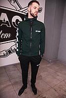Спортивный костюм мужской зеленый Off-White, натуральный хлопок + полиэстер   Спортивный костюм весенний