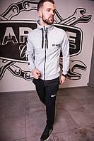 Спортивный костюм мужской серый Off-White, натуральный хлопок + полиэстер   Спортивный костюм весенний