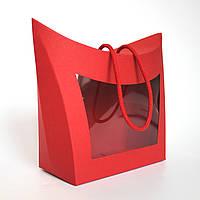 Коробка подарочная с окном и ручкой красная 155х80х140 мм.