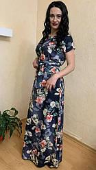 Плаття довге легке з кишенями