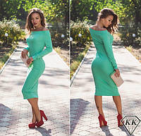Красивое облегающее зеленое платье ниже колен. Арт-3247/23