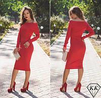 Красивое облегающее красное платье ниже колен. Арт-3247/23