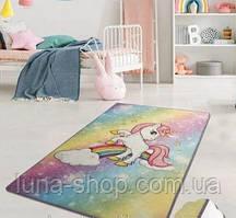 Коврик в детскую комнату  Пони-единорог и радуга, 100х160 и 140х190, Турция