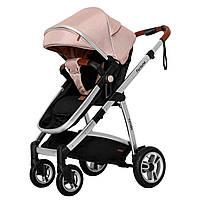 Коляска детская универсальная надувные колеса CARRELLO Fortuna CRL-9001/1 Coral Pink 2в1 c матрасом +дождевик