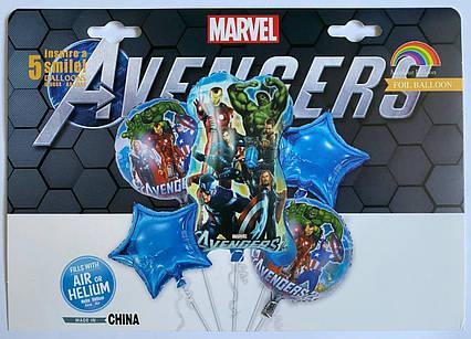 Набор фольгированных воздушных шаров Мстители упаковка 5 шт.