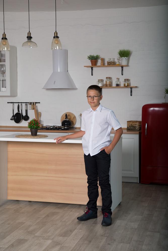 Белая рубашка для мальчика с коротким рукавом, на кнопках SmileTime