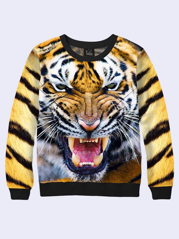 Толстовка женская Оскал тигра. Размер 42 - 50