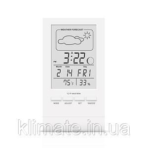 Термометр гигрометр комнатный цифровой электронный термогигрометр Т-14 белый с часами