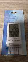 Термометр гигрометр комнатный цифровой электронный термогигрометр Т-14 белый с часами, фото 3