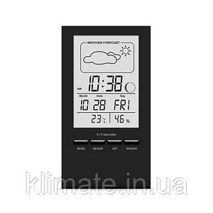 Термометр гигрометр комнатный цифровой электронный термогигрометр Т-14 черный с часами