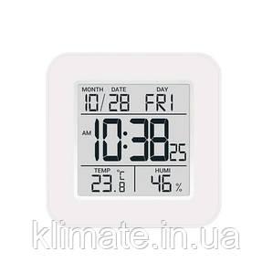 Термометр гигрометр комнатный цифровой электронный  Т-19 белый с часами,будильником и подсветкой