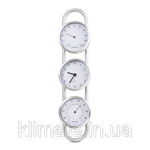 Термо-гигрометр биметаллический с часами исп 2, вертикальный