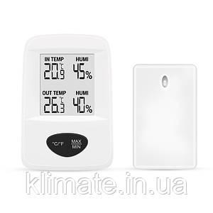 Термо-Гигрометр Цифровой С Часами Т-20 С Выносным Датчиком, Белый - Стеклоприбор