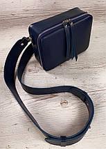 64-р Натуральная кожа Сумка женская через плечо Кожаная сумка с широким ремнем Сумка кросс-боди кожаная синяя, фото 2