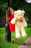 Плюшевий ведмедик персикового кольору 120 див.