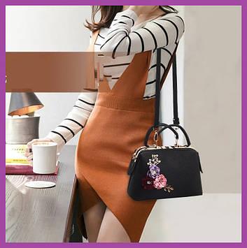 Стильная женская сумка с цветами черная эко-кожа, Клатчи и маленькие сумки, Мини-сумочка