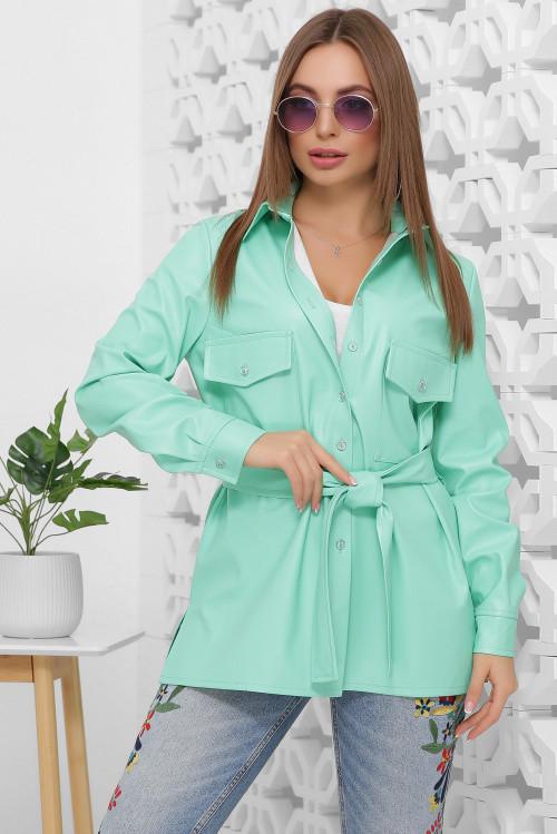 Женская рубашка из эко-кожи, в комплекте пояс в цвет ткани мята 46 размер